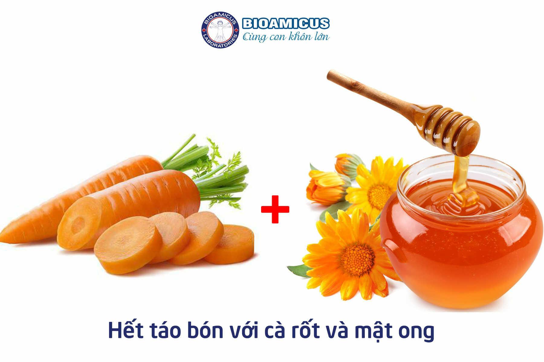 chữa táo bón cho trẻ sơ sinh bằng cà rốt và mật ong