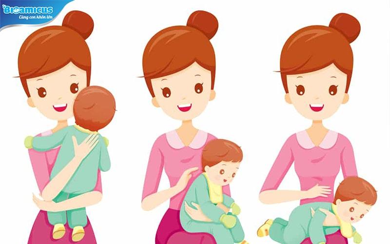 3 cách vỗ ợ hơi cho bé